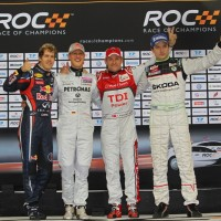 COURSE DES CHAMPIONS 2011 A DUSSELDORF PODIUM equipes Vettel Schumi Kristensen Hanninen