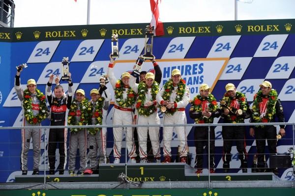 MOTORSPORT - LE MANS 24 HOURS / 24 HEURES DU MANS 2012 - COURSE / RACE - LE MANS (FRA) 16 TO 17/06/2012  - PHOTO : ERIC VARGIOLU / DPPI - 44 POTOLICCHIO VICENTE (VEN) - DALZIEL RYAN (GBR) - KIMBER-SMITH THOMAS (GBR) / HPD ARX 03B HONDA TEAM STARWORKS MOTORSPORTS / AMBIANCE - PORTRAIT - PODIUM46 THIRIET PIERRE (FRA) - BECHE MATHIAS (CHE) - TINSEAU CHRISTOPHE (FRA) / ORECA 03 NISSAN49 COMPANC LUIS PEREZ (ARG) - KAFFER PIERRE (DEU) - AYARI SOHEIL (FRA) / ORECA 03 NISSAN TEAM PECOM RACING
