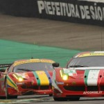 WEC 2012 SAO PAULO FERRARI AF CORSE devant FERRARI et CORVETTE LARBRE
