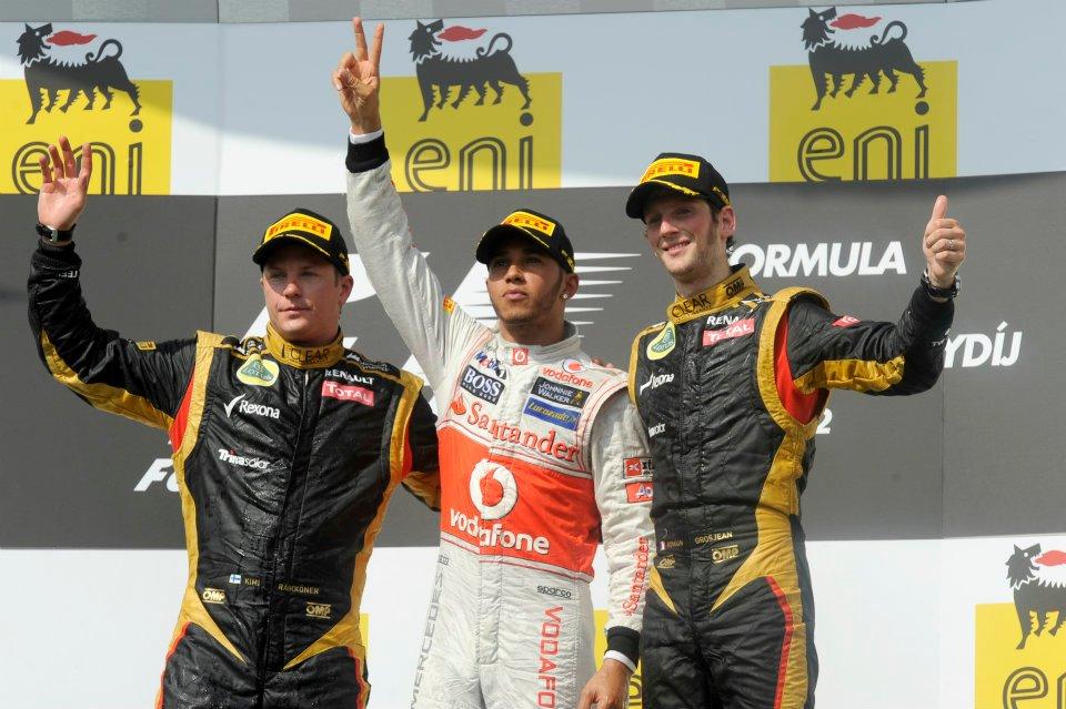 F1 2012 BUDAPEST PODIUM HAMILRON KIMI ET GROSJEAN PIRELLI