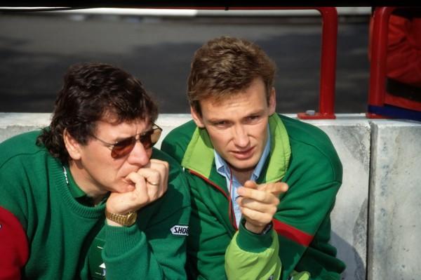 GACHOT très complice avec ingenieur Gary ANDERSON chez Jordan en 1991 © Manfred GIET pour autonewsinfo