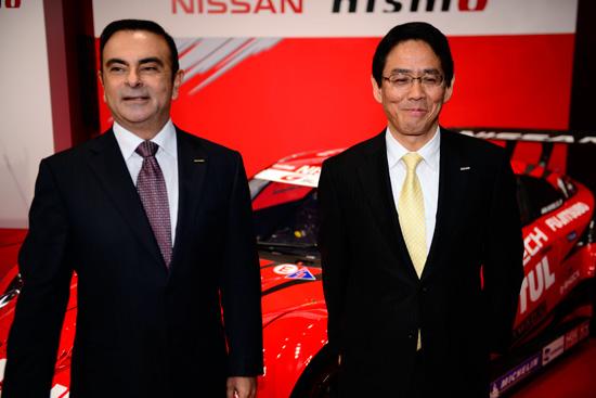 24 HEURES DU MANS 2014 De gauche à droite Carlos Ghosn Président Directeur Général de NISSAN et Shoichi Miyatani Président de NISMO