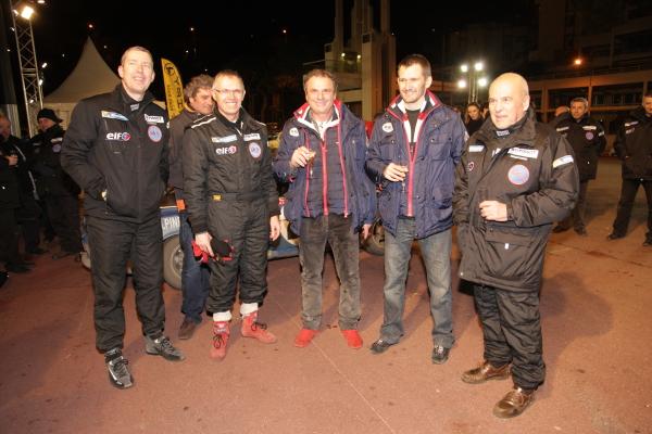 MONTE CARLO HISTORIQUE 2013 Gerard BRIANTI avec Carlos TAVARES et Jean Claude ANDRUET fetent la victoire de l'ALPINE Num 100 Photo Bernard CANNONE