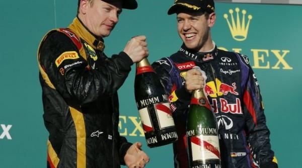 F1 2013 AUSTRALIE PODIUM RAIKKONEN ET VETTEL