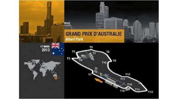 F1 2013 trace GP AUSTRALIE a MELBOURNE