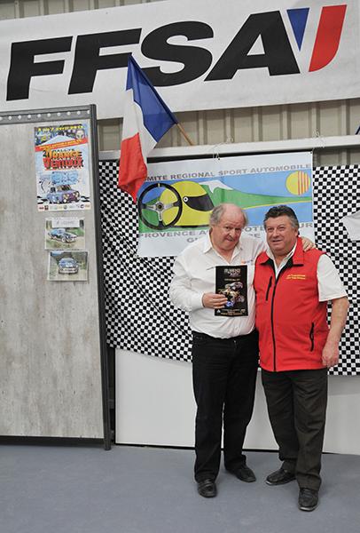 Gilles Gaignaul avec Pau Lacombe de l'ASA Vaison, organisateur du Rallye de Vaison la Romaine