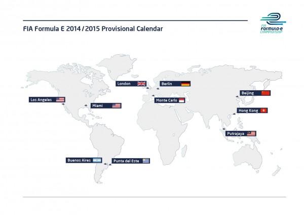 FORMULE E CALENDRIER 2014 la carte des villes