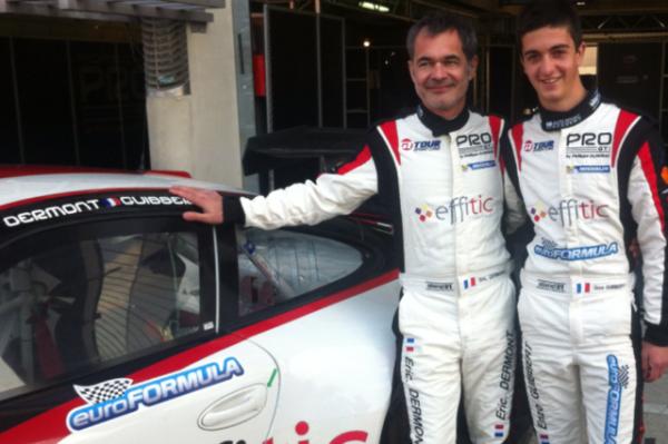 GT TOUR 2013 - LE MANS  -Eric Dermont et Enzo Guibbert, le Volant Euro Formula 2012  devant la Porsche du PRO GT Almeras. Photo Claude MOLINIER - autonewsinfo