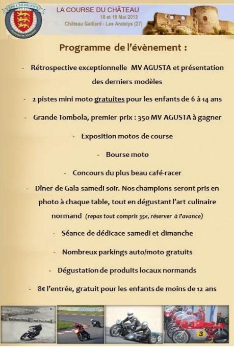 COURSE DE COTE DU CHATEAU 2013  programme