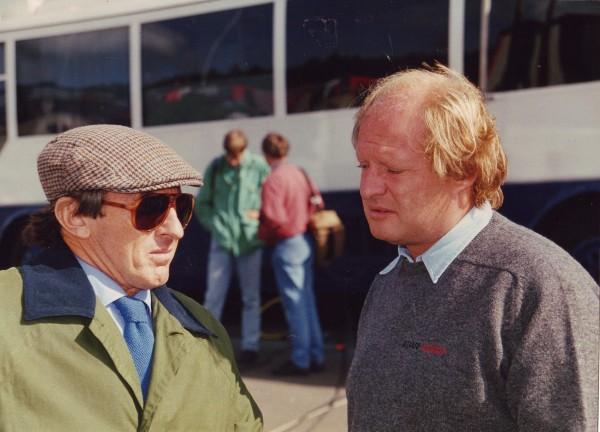 Jacky STEWART et Gilles GAIGNAULT au Grand Prix de BELGIQUE à SPA en 1992 photo Bernard BAKALIAN.