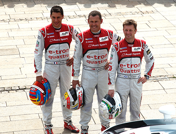 é' heures du MANS 2013. Un trio formé des anciens et chevbronnés McNISH et Tom KRISTENSEN désormais rejoints par le rapide Loic DUVAL, remplaçant de Dinfo CAPELLO- Photo Gilles VITRY- autonewsinfo.com