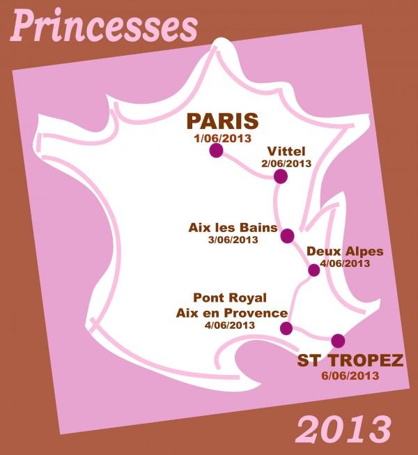 RALLYE DES PRINCESSES 2013 Carte de France du parcours des Princesses2013