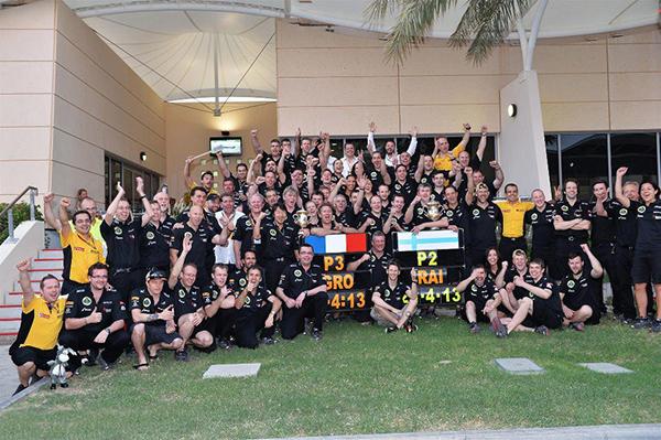 F1 2013 BAHREIN La fete chez LOTUS RENAULT avec KIMI et ROMAIN 2 et 3