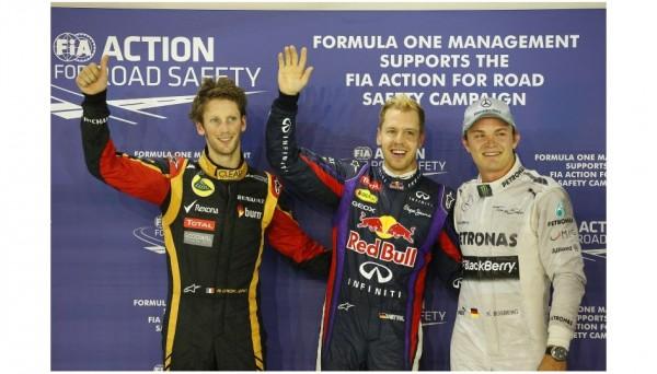 F1-2013-SINGAPOUR-Podium-des-3-premiers-des-essais-VETTEL-1er-devant-ROSBERG-et-GROSJEAN