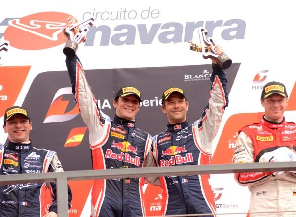 GT FIA 2013 NAVARRA LOEB et PARENTE victoeieux des 2 courses HEUREUX sur le podium - Photo Gilles VITRY