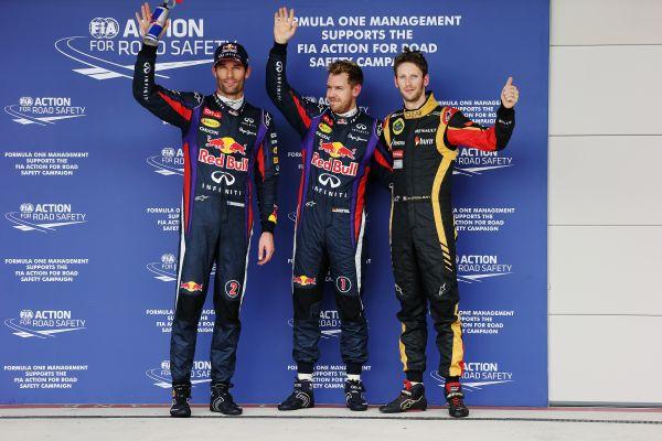 F1-2013-AUSTIN-le-podium-des-3-premoers-des-essais-qualificatifs-VETTEL-1er-WEBBER-2-et-Romain-GROSJEAN
