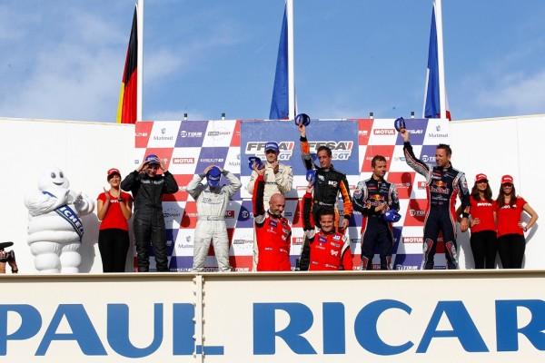 GT-TOUR-2013-PAUL-RICARD-Podium-course-2-1er-BMW-TDS-ESTRE-HASSID-avec-en-plus-les-CHAMPIONS-2013-BARTHEZ-MOULIN-TRAFFORT.