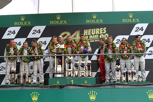 24 HEURES DU MANS 2013 Les trois equipages victorieux avec DUVAL KRISTENSEN MCNISH 1er Photo Gilles VITRY - autonewsinfo