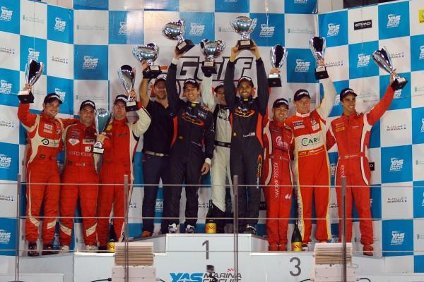 ENDURANCE 12 HEURES ABOU DHABI Samedi 14 DECEMBRE 2013 le podium Vuctoire MERCEDES FALCON devant les deux FERRARI AF Cordse et Kessel
