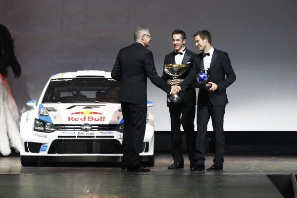 FIA REMISE DES PRIX Vendredi 6 Decembre 2013 a PARIS - Sebastien OGIER et Julien INGRASSIA et la VW POLO WRC CHAMPIONNE du monde WRC