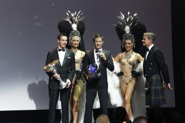 FIA REMISE DES PRIX Ve,ndredi 6 Decembre 2013 a PARIS - Sebastien OGIER et Julien INGRASSIA et les GIRLS du MOULIN ROUGE
