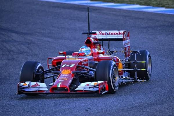 F1 2014 JEREZ LA FERRARI ERXPERIMETALE DE FERNANBDO ALONSO le JEUDI 30 JANVIER - photo Max MALKA