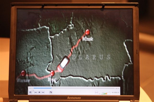 PADDY-HOPKIRK-La-carte-du-trajet-de-liaison-entre-Minsk-et-Monaco-expliqué-par-P-Hopkirk-©-Manfred-Giet