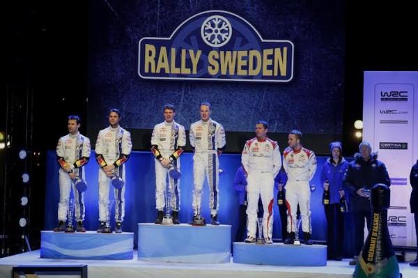 WRC-2014-SUEDE-Le-podium-avec-LATVALA-MIKKELSEN-et-OSTBERG-le-8-fevrier