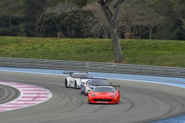 BLANCPAIN 2014 la Ferrari F458 Sport garage devant la F458 du Team INSIGHT Racing with FLEX Box de Dennos Andersen Martin Jensen et Janson Yeomans et la BMW ROAL de Zanardi.