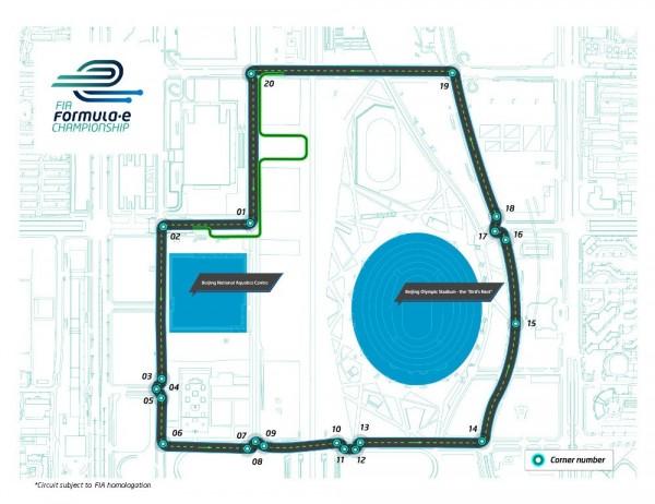 FORMULE E - le circuit autour su Stade Olympique de Pékin