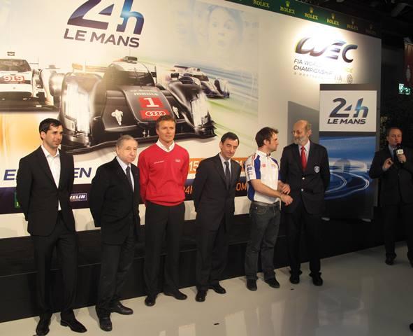 Neel Jani (Porsche), Jean Todt (Président de la FIA), Marcel Fässler (Audi), Pierre Fillon (Président de l'ACO), Nicolas Lapierre (Toyota), Henri Pescarolo, Fabrice Bourrigaud (Directeur Pôle Esprit Le Mans / ACO)
