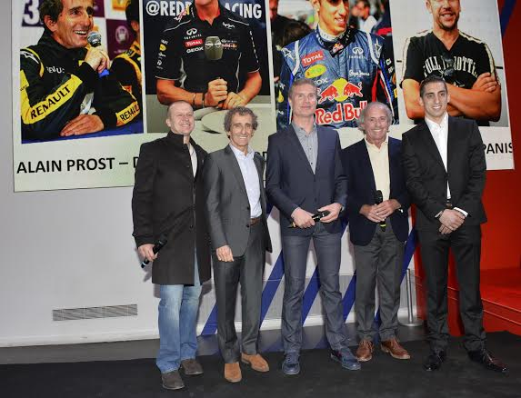 WSR-2014-Presentation-Atelier-RENAULT-le-6-mars-LES-ANIENS-PILOTES-F1-PANOS-PROST-LAFFITE-COULTHARD-BUEMI-Photo-Max-MALKA