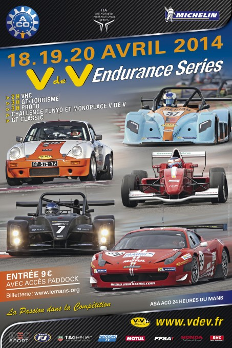 VdeV ENDURANCE SERIES 2014 - Affiche meeting du MANS