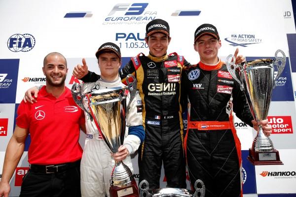 F3 2014 GP DE PAU - Le PODIUM de la 1ére course avec OCON le vainqueur, AUER son dsauphin et Max VERSTAPPEN.