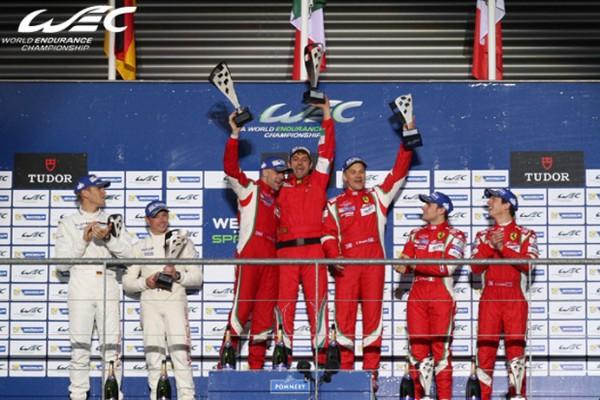 WEC 2014 SPA Le podium GR avec les vainqueurs BRUNI VILANDER de la SCUDERIA AF CORSE.jp