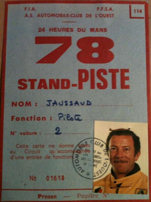 24-HEURES-DU-MANS-2013-Pass-de-Jean-Pierre-JAUSSSAUD-au-MANS-en-juin-1978-Photo-Eric-JAUSSAUD