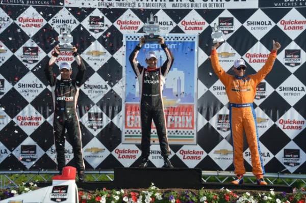 INDYCAR 2014 DETROIT Le podium de la seconde course avec Helio Castroneves Will Power et Charlie Kimball