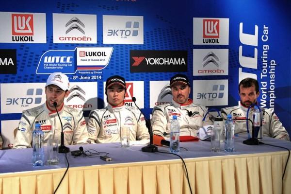 WTCC-2014-MOSCOU-les-4-PILOTES-CITROEN.