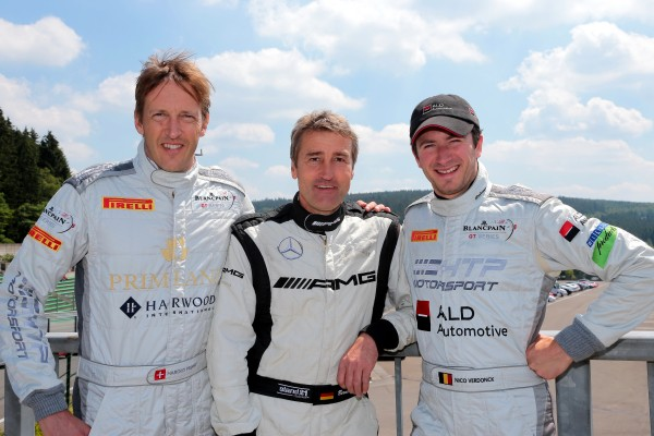 24-HEURES-DE-SPA-2014-Harold-Primat-avec-Bernd-Schneider-et-Nico-Verdonck-Mercedes-Benz-SLS-AMG-GT3-N°84-du-HTP-Motorsport
