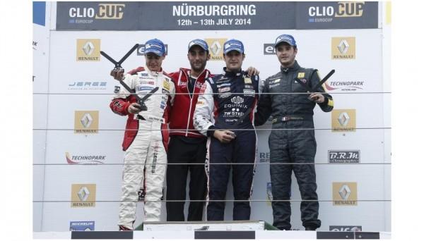 EUROCUP-CLIO-2014-Podium-NURBUGRING-pour-Eric-TREMOULET-avec-Oscar-NOGUES-et-Alex-MORGAN