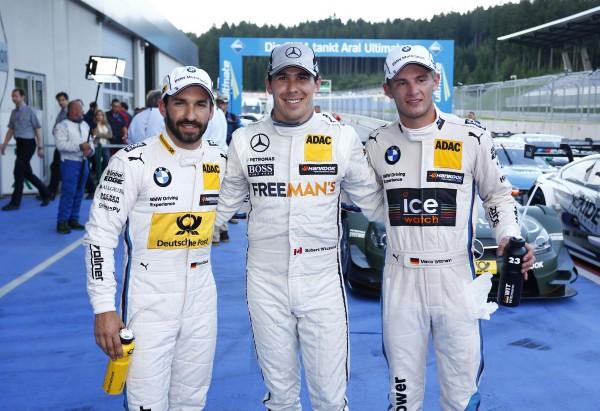DTM-2014 RED BULL RING Timo Glock BMW Team MTEK - Robert Wickens Mercedes AMG et Marco Wittmann BMW Team RMG les 3 premiers des chronos