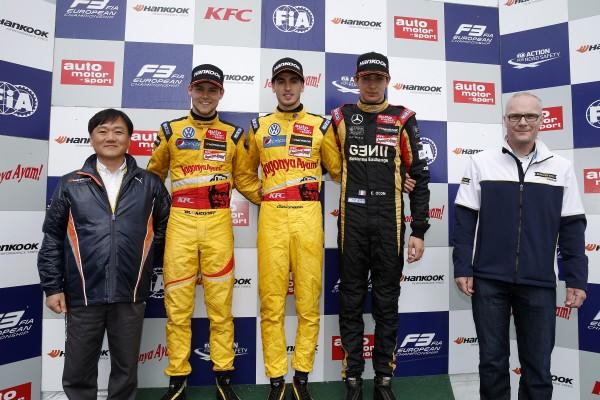 F3 2014 - NURBURGRING - Podium de la seconde course- BLOMQVIST - GIOVINAZZI le vainqueur et Esteban OCON