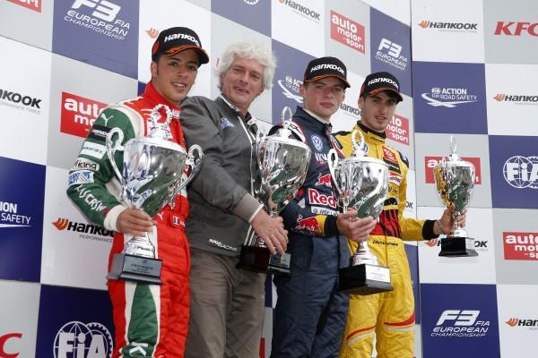F3 2014 - NURBURGRING - Le podium de la 1ére course - VERSTAPPEN 1er - FUOCO 2éme et GIOVINAZZI 3éme