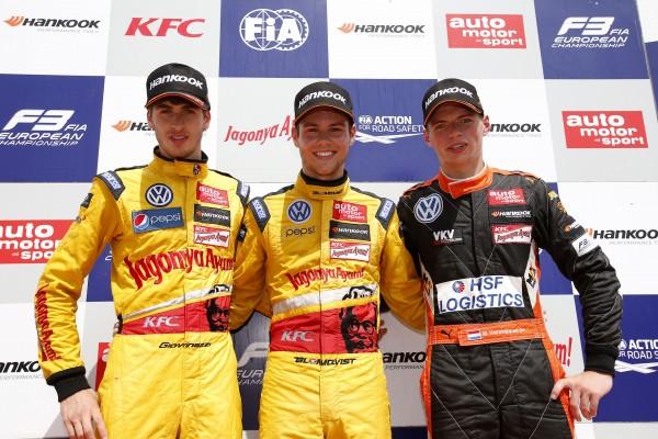 F3-2014-RED-BULL-RING-Le-podium-de-la-course-1-Antonio-Giovinazzi-2éme-Tom-Blomqvist-1er-et-Max-Verstappen-3éme-mais-pénalisé-ensuite-et-sui-termine-5