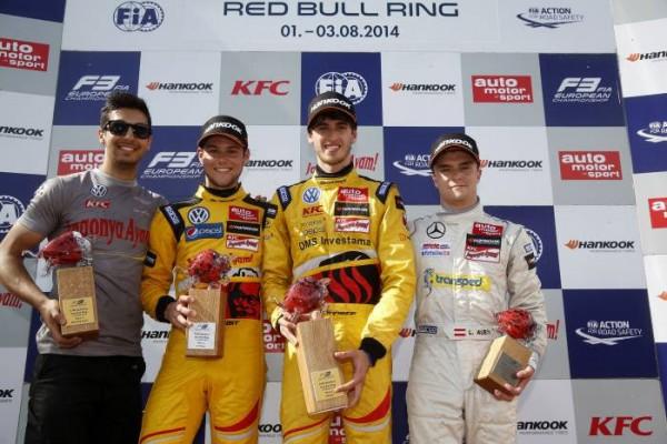 F3-2014-RED-BULL-RING-Le-podium-de-lma-3éme-course-Tom-BLOMQVIST-2-Antonio-GIOVONAZZI-1er-et-Lucas-AUER-3éme