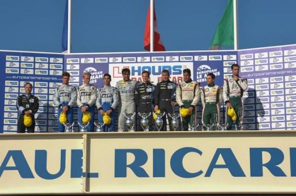ELMS-2014-PAUL-RICARD-Course-des-4-Heures-Le-podium-avec-les-pilotes-victorieux-KLIEN-HIRSCH-RAGUES-et-les-pilotes-ALPINE-seconds-et-Photo-Antoine-CAMBLOR