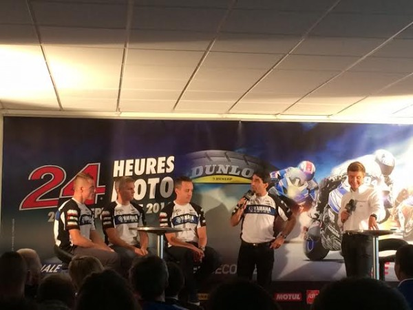 ENDURANCE-MOTO-2014-24-H-DU-MANS-Présentation-a-PARIS-le-4-sept-le-TEAM-YAMAHA-GMT-94-de-Christophe-GUYOT-leader-du-Championnat.
