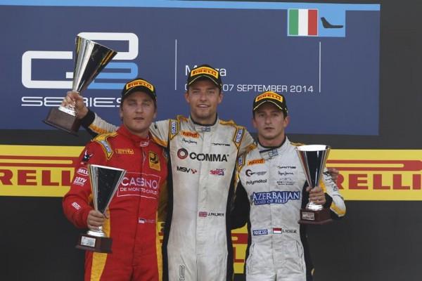 GP2 2014 - MONZA - Le second podium avec Jolyon PALMER et les deux Monégasques COLETTI et RICHELMI.