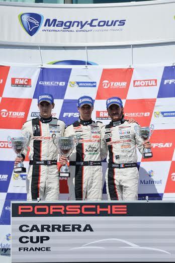 PORSCHE-CARRERA-CUP-2014-MAGNY-COURS-Le-podium-de-la-seconde-course-avec-ledogar-le-Vainqueur-Photo-Antoine-CAMBLOR