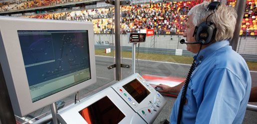 CHARLIE-WHITING dans une cabine de direction de course